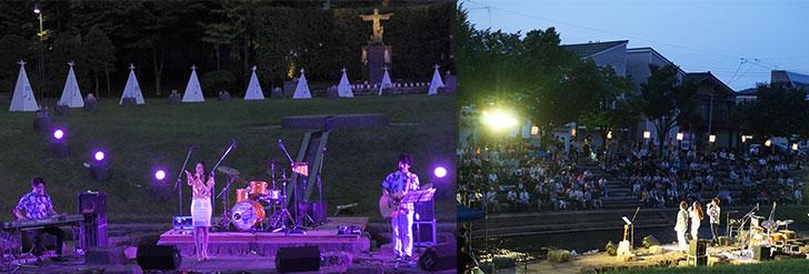 平和の森コンサートで歌う任命アーティストたち
